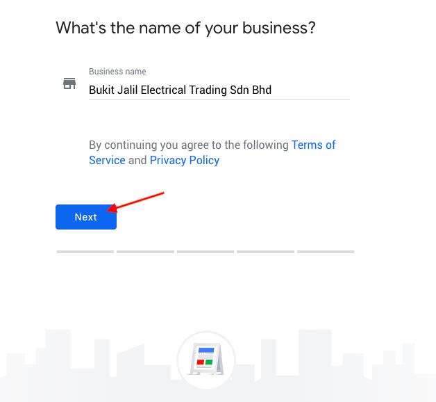 Input business name