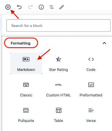 markdown block in default block editor